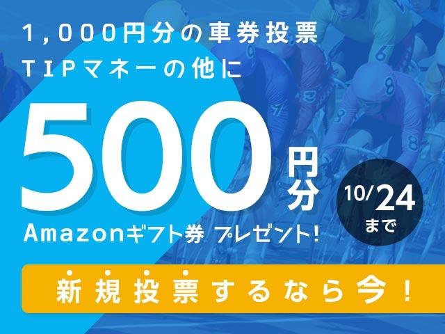 初めてnetkeirin経由で投票する方全員に1000円分のTIPマネー+500円分のAmazonギフト券!